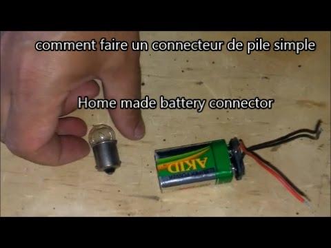 Comment Faire Un Connecteur De Pile Gratuit Home Made Connector For 0 كيف تصنع وصلة لبطارية Youtube
