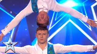 Acrobatic duo Duo Kalutskih/Chetverkin take on INCREDIBLE balancing act | Auditions | BGMT 2019