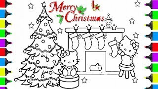 How To Draw Hello Kitty Christmas Living Room A Christmas Tree | Coloring Pages For Kids | Learn Art