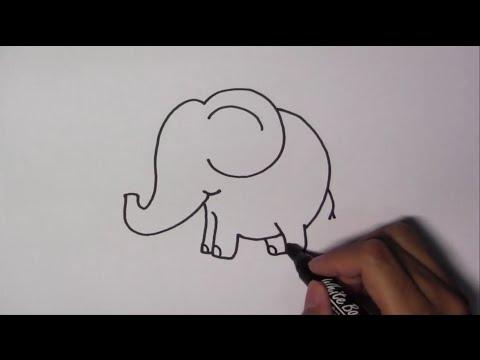 วาดรูปการ์ตูนน่ารัก ระบายสี และเรียนรู้ภาษาอังกฤษ Elephant ช้าง