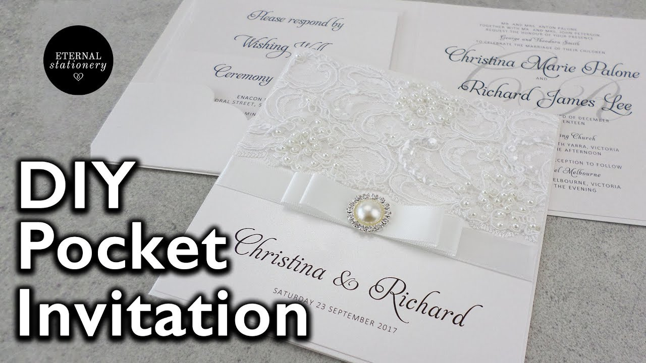 How to make a lace pocket wedding invitation | DIY invitations - YouTube