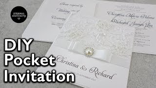 How to make a lace pocket wedding invitation | DIY invitations