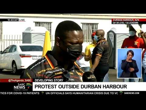 Port of Durban | Satawu protest outside harbour, calling for it not to be privatised