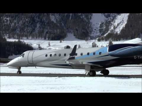 Embraer Legacy 600 valley landing & take-off at Samedan - 05/01/2015