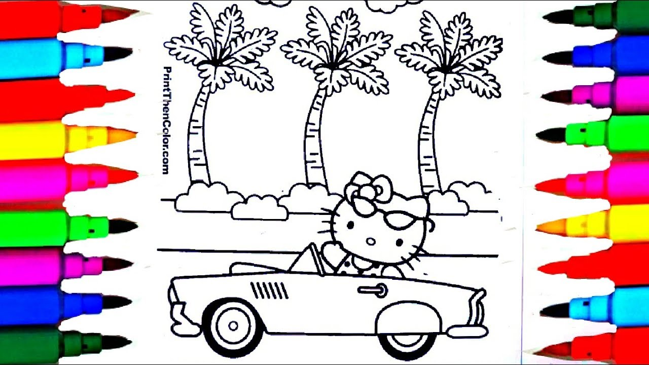 Learn colors by coloring hello kitty musical car coloring pages l kids drawing and coloring