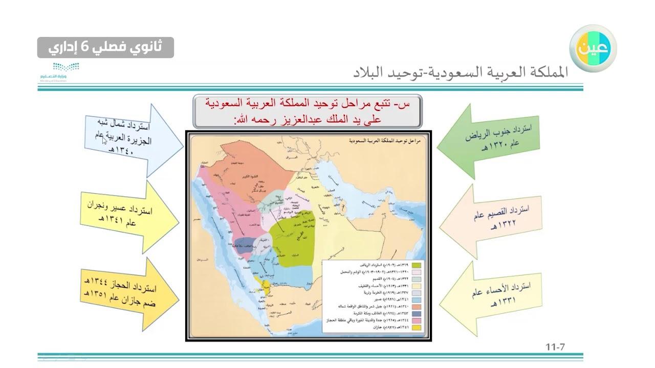 دروس عين استرداد الرياض توحيد البلاد التاريخ والتربية الوطنية 2 ثالث ثانوي فصلي 6 إداري Youtube