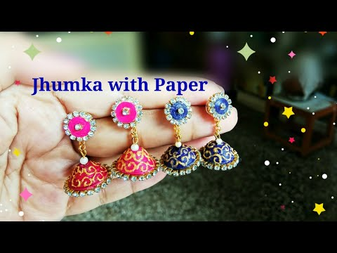 DIY Earrings/Jhumka with Paper | How to make paper quilling jhumkas