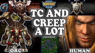 Grubby | Warcraft 3 TFT | 1.30 | ORC v HU on Amazonia - TC and Creep a Lot