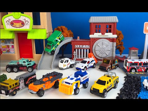 MATCHBOX ON A MISSION  PART 1 IN TOWN POLICE FIRE TRUCK GARBAGE TRUCK MIGHT MACHINES EXCAVATOR TRUCK