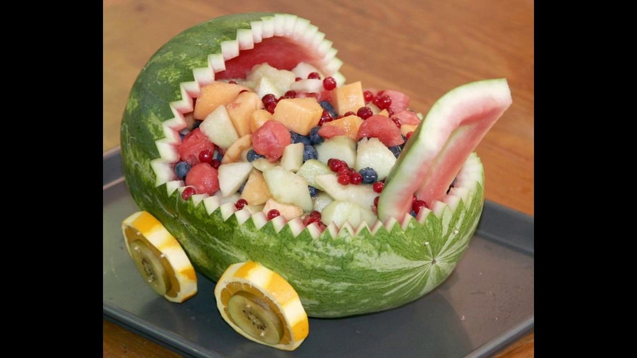 Fruit salad decoration for baby shower - YouTube