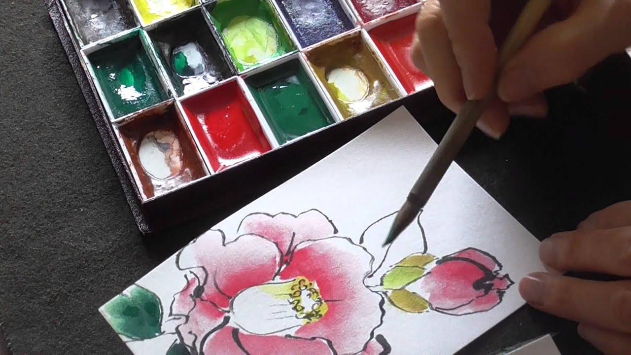 絵手紙入門 楽しく簡単に四季を描こう 椿に水滴 Youtube