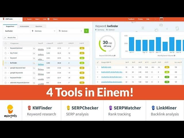KWFinder Deutsch Erklärung - Keywords finden Keywordrecherche - Keyword Tool mit Mehrwert + Tipps