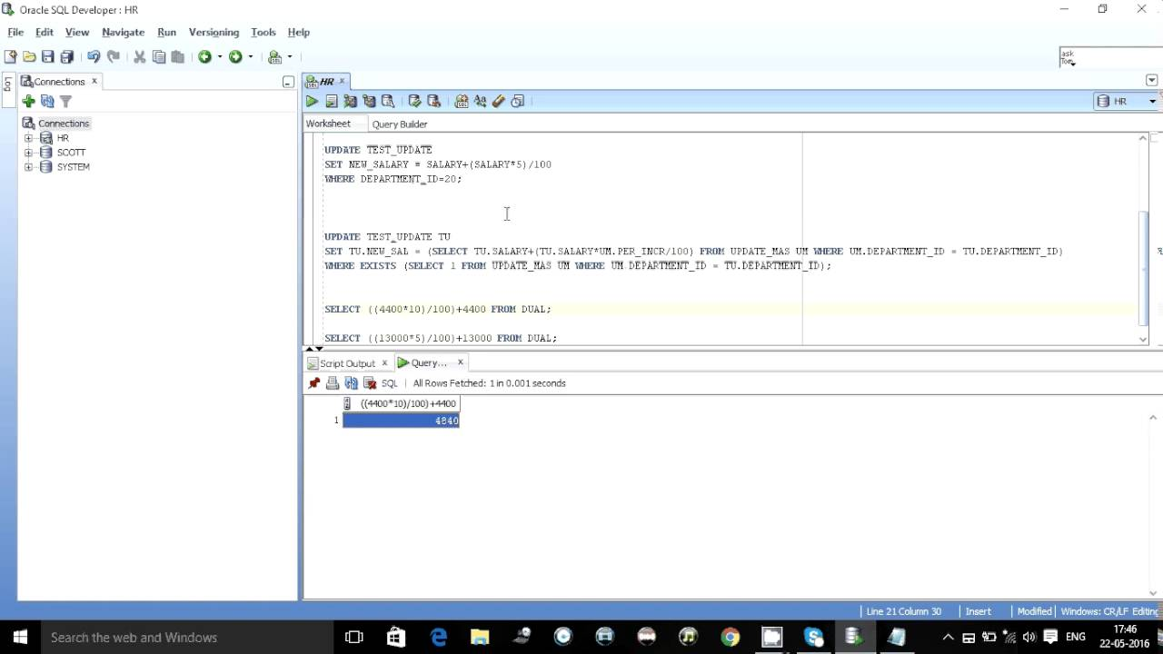 UPDATE STATEMENT WITH JOIN IN ORACLE SQL - YouTube