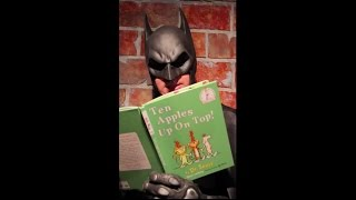 Batman reads Dr. Seuss on set