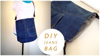 DIY BAG//coudre un sac//bolsa diy//bolsa de bricolaje/DIYバッグ// REUSE OLD JEANS//เย็บกระเป๋าผ้า
