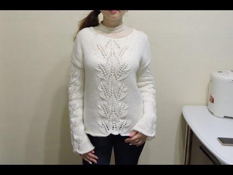 Женский свитер спицами для начинающих Часть 1 // sweater knitting - Смотреть видео онлайн