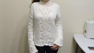 Женский свитер спицами для начинающих Часть 1 // sweater knitting