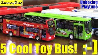 Kids' TOY BUS Unboxing, Review and Playtime! 5 Toy Bus Playtime Fun. Kids' Toy Channel