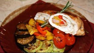Куриный рулет с овощами.