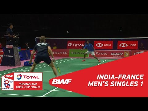 Thomas Cup | MS1 | SAI PRANEETH B. (IND) vs Brice LEVERDEZ (FRA) | BWF 2018