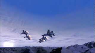 Su-27 Formation Flight above the Alps