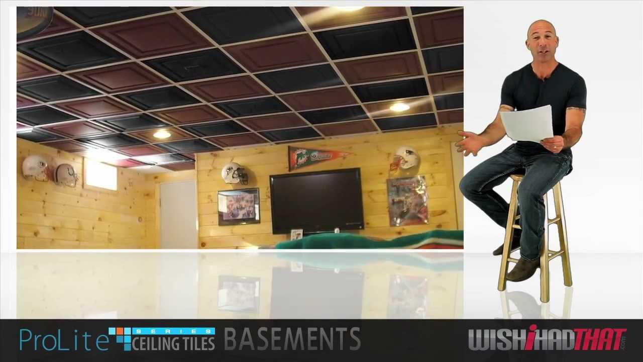 Basement remodel with prolite ceiling tiles youtube dailygadgetfo Images