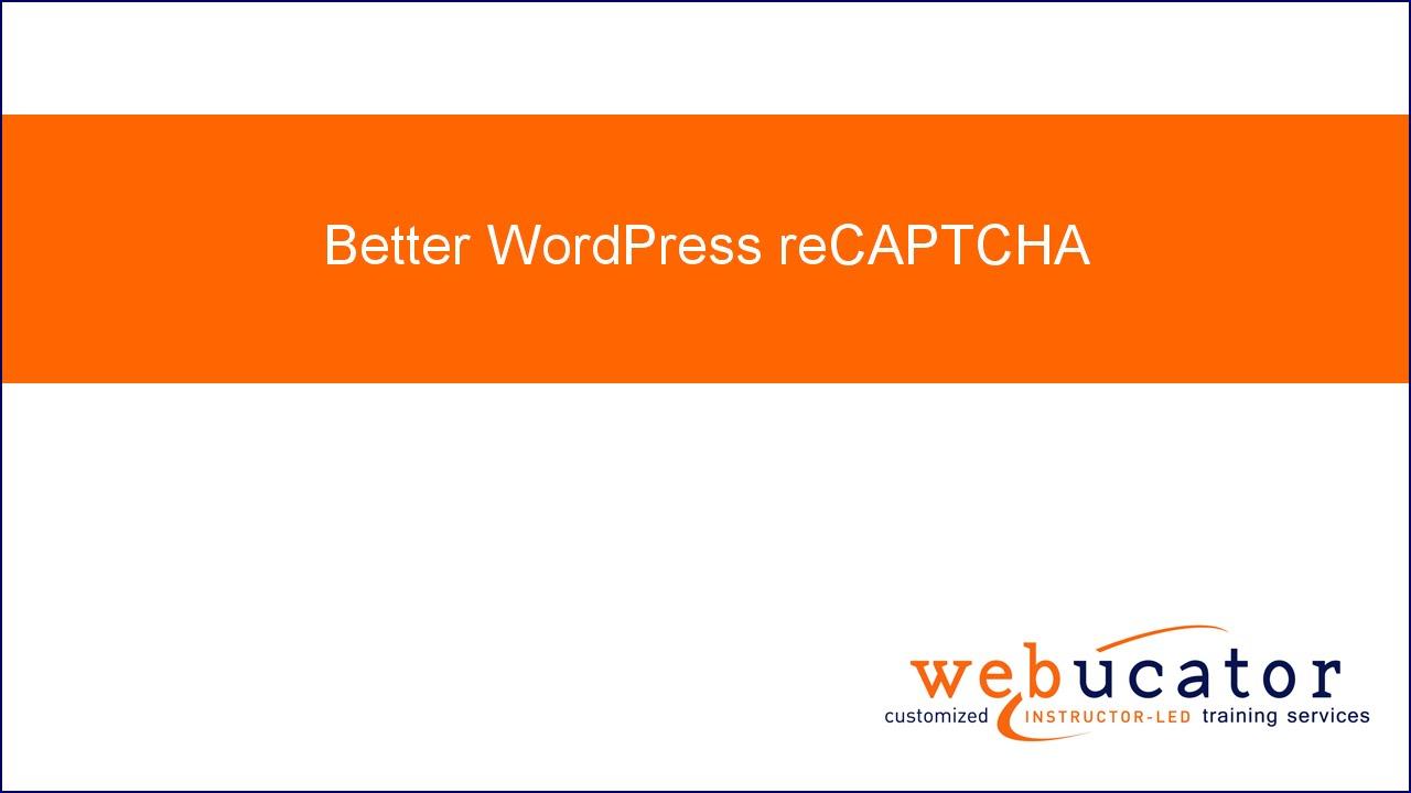 Better WordPress reCAPTCHA - YouTube