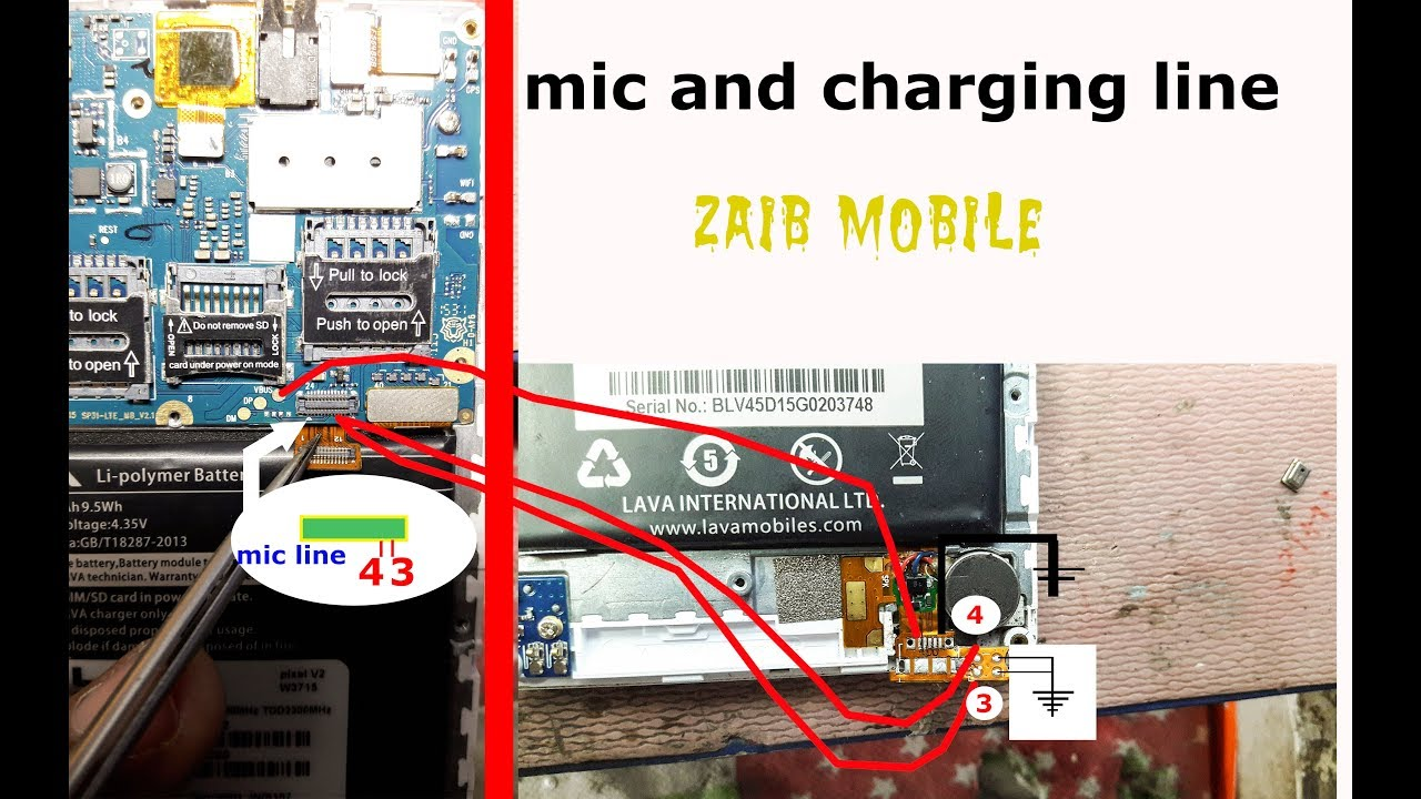 lava pixel v2 w3715 charging and mic jumper solution by zaib mobile