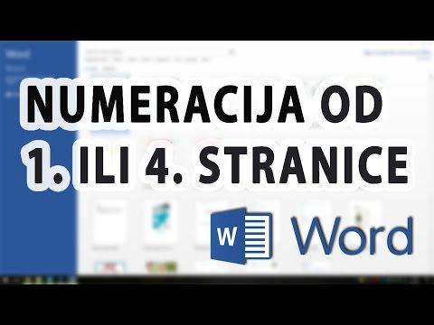 Numeracija u Wordu (od 1. ili 4. stranice) - Word 2013