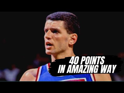 [HD] Drazen Petrovic 40 pts VS Cleveland Cavaliers - 1992