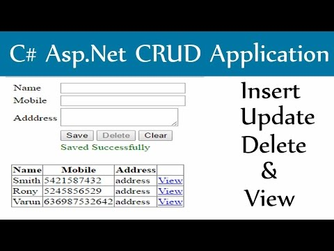 C# Asp.Net-Insert Update Delete and View With Sql Server Dat