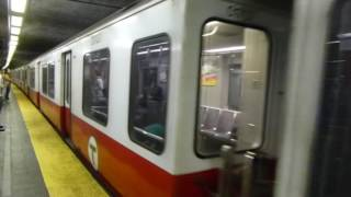 MBTA Boston T: 1987 UTDC Red Line Train at Park Street Station (Weekend)