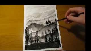 Как нарисовать горы и ели черной акварелью(Подписывайтесь на мой канал - https://www.youtube.com/channel/UCGncC-2NDn1WVcJOO9xLGoQ Добавляйте в друзья ВК - http://vk.com/id268631218 и ..., 2014-12-29T00:28:30.000Z)