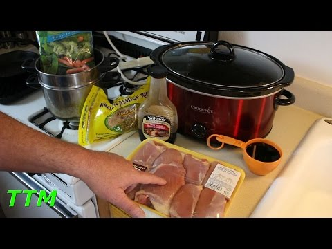 Easy Crock Pot Slow Cooker Recipe~Boneless Skinless Chicken Thighs In Teriyaki Sauce