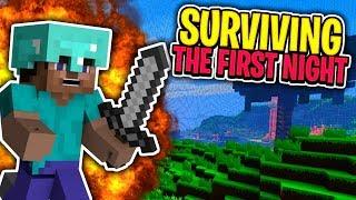 SURVIVING THE FIRST NIGHT (Minecraft Pocket Edition Hardcore Survival)