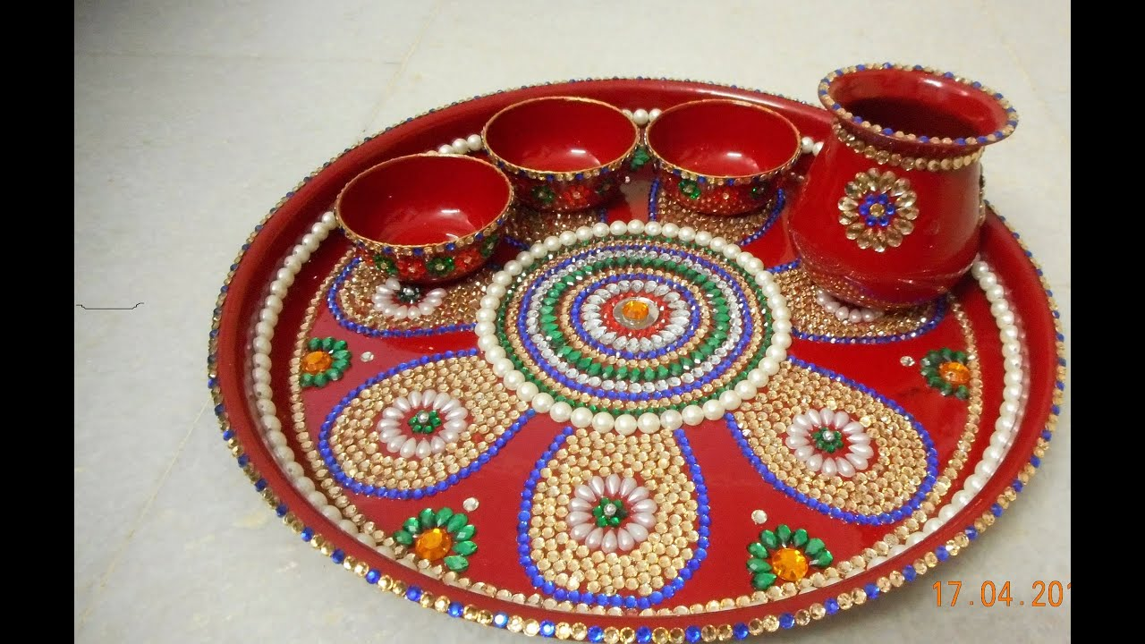 How to make a decorative pooja thali youtube for Aarti thali decoration ideas for ganpati