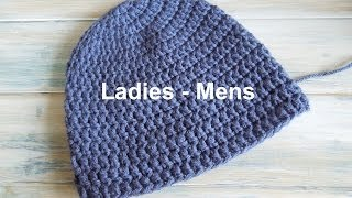 """(crochet) How To - Crochet a Simple Beanie for Ladies - Mens Size (22""""-24"""")"""