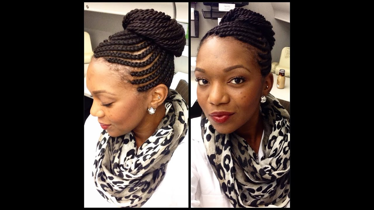protective styles: cornrows with senegalese twists - youtube