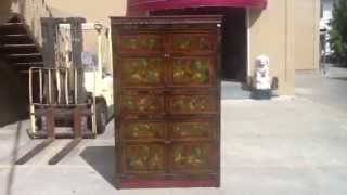 Big Tibetan Antique Flower Hand Paint Carving Armoire Storage Cabinet Wk2531