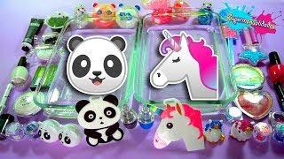 Mezclando Slime Panda VS Unicornio - Supermanualidades