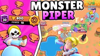 NEW PIPER IS A MONSTER!! 800 TROPHY SHOWDOWN PIPER PUSH IN BRAWL STARS!