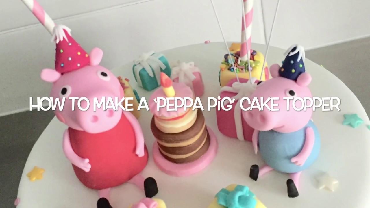 Peppa Pig Cake Topper Tutorial Youtube