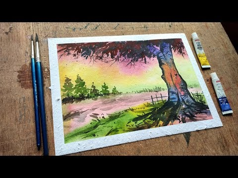 Drawing a village scenery step by step (very easy)| watercolor painting | scenery drawing