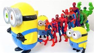 マーベルアベンジャーズのスーパーヒーローがミニオンズのキャリーケース、スパイダーマン、ハルク、アイアンマンに飛び込みます!
