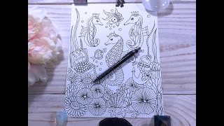 speed drawing  -  under the sea - seahorses -