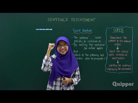 Quipper Video - Sentence Restatement - Persiapan SBMPTN Bahasa Inggris 2017
