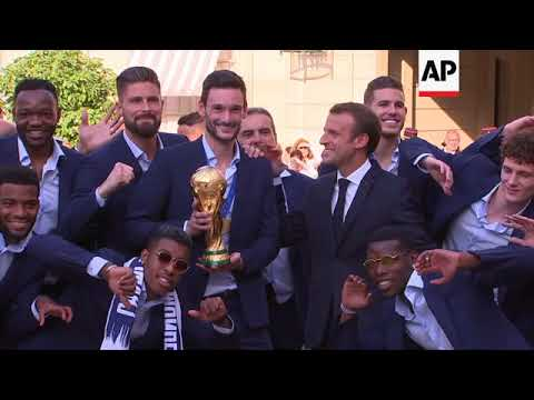 France's World Cup champions attend party hosted by Macron