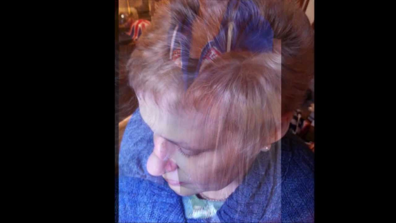 First colour treatment,brown to blonde after chemotherapy - YouTube