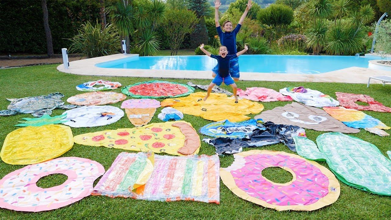 Colis g ant pour la piscine cascade de jouets gonflables for Swan et neo piscine