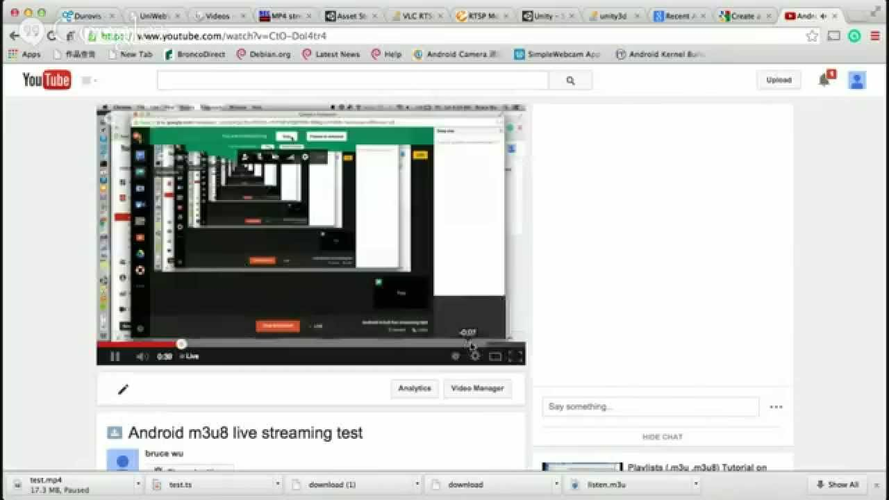 Android m3u8 live streaming test
